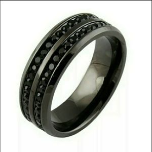 🌺Black Stainless Steel Band Ring Size 8